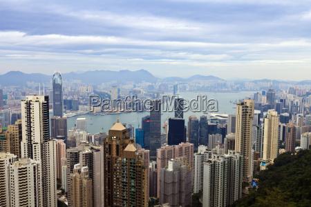hong kong stadtbild gesehen von victoria