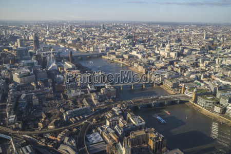 elevated view of the river thames