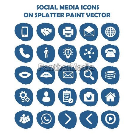 social media icon set auf blauem