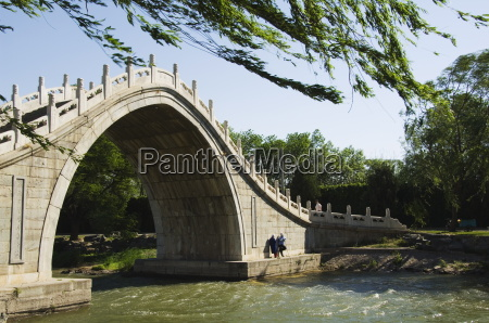 a steeply arched bridge on lake