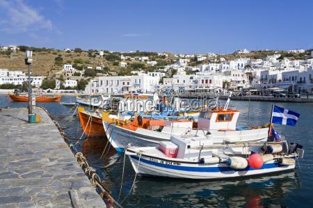 fishing boats in mykonos town island
