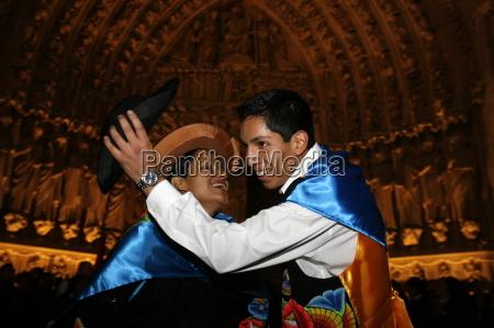 peruvian dancing outside notre dame de