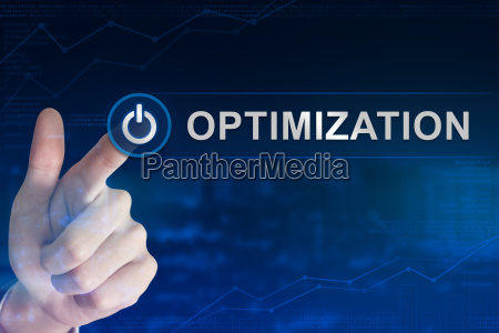 business hand clicking optimization button