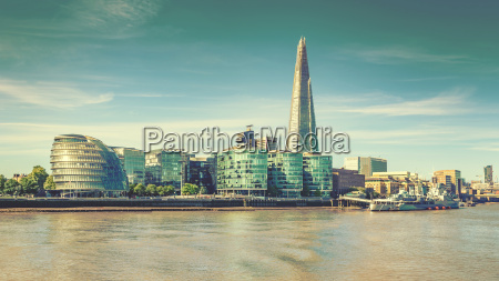 london stadt skyline und themse vintage