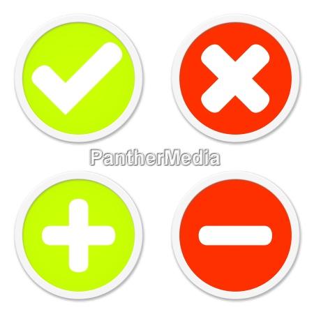 4 buttons zustimmung ablehnung plus minus