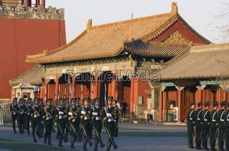 military soldiers drill marching outside the