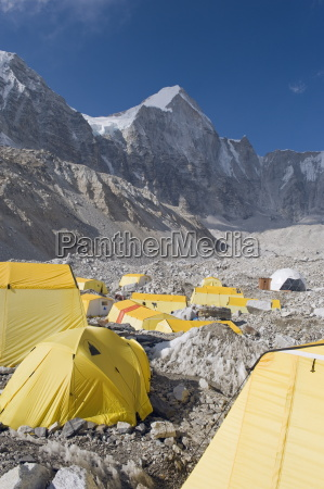 yellow tents at everest base camp