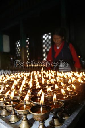 butter lamps swayambhunath temple kathmandu nepal