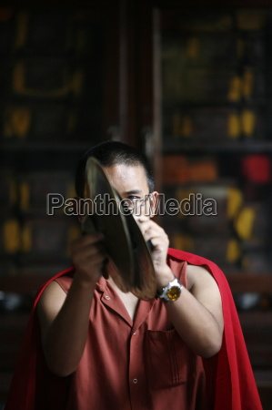 buddhist ceremony swayambhunath temple kathmandu nepal