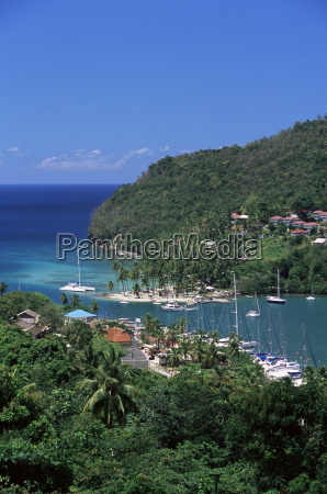 elevated view over marigot bay st