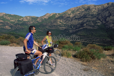 cyclists near galeria corsica france europe