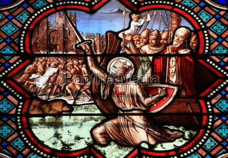 stained glass window depicting the life