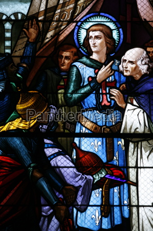 stained glass window of the crusading