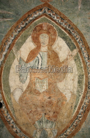 a 12th century romanesque fresco depicting