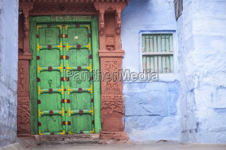 green door and blue walls jodhpur