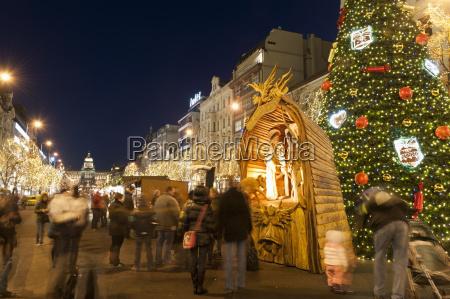 christmas market and christmas tree nativity