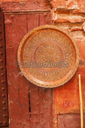 copper plate on wall in the