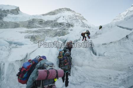 the khumbu icefall on mount everest