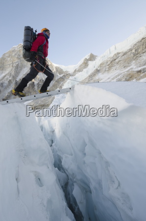 crossing ladders on the khumbu icefall