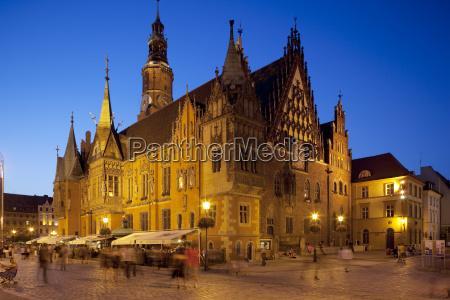 town hall at dusk rynek old