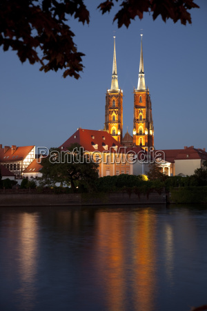 cathedral and river odra river oder