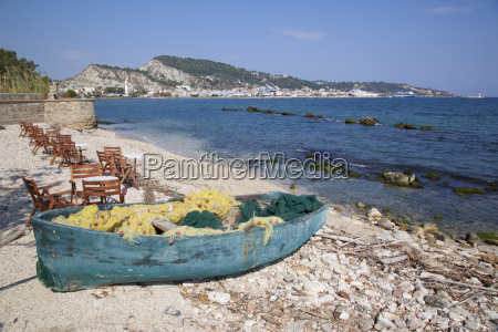 fishing boat and town zakynthos town