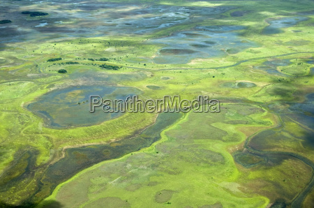 aerial view of flooded areas of
