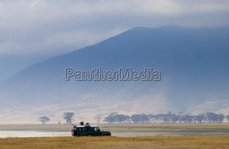 tourists in the ngorongoro crater tanzania