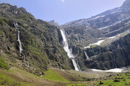 waterfalls cascade down the karst limestone