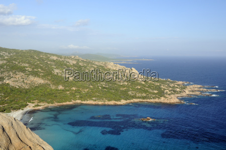 overview of roccapina bay and the