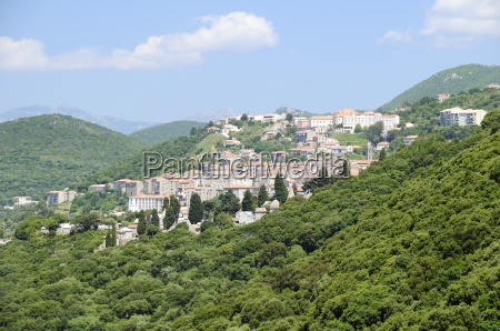 view of sartene town in wooded