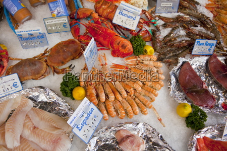 seafood for sale at street market