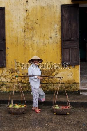fruit seller hoi an vietnam indochina