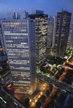 evening skyline view of skyscraper corporate