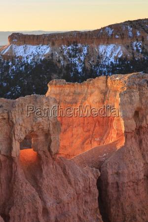 rocks lit by strong dawn light
