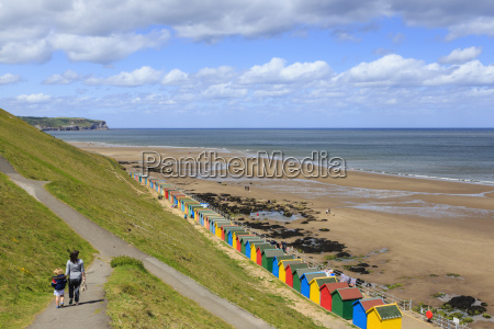 elevated view of colourful beach huts