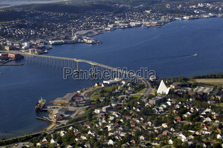 aerial view over the tromso river