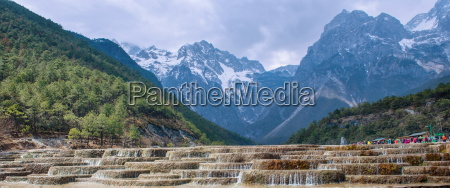 a panoramic view of cascading waterfalls