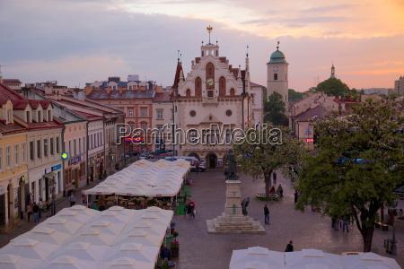 city hall at sunset market square