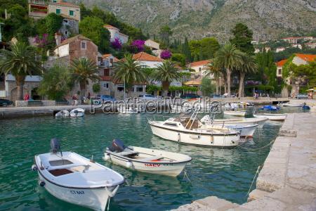 boats in harbour mlini dubrovnik riviera