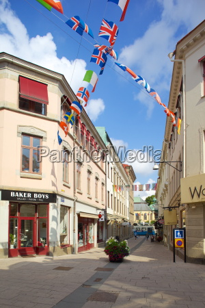 national flags and street scene gothenburg