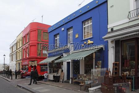 colourful shops in portobello road famed