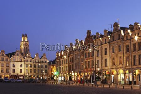 flemish baroque architecture at night on