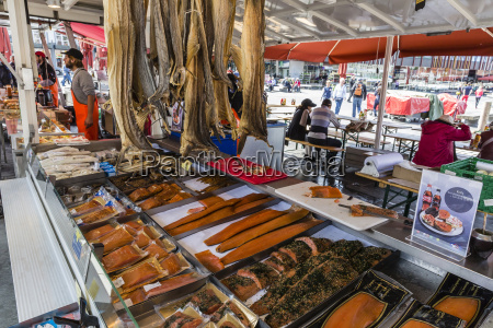 fresh seafood at market on the