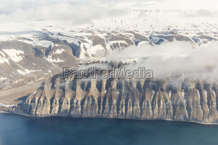 aerial view of mountains glaciers and