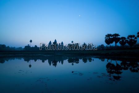 angkor wat temple and the moon