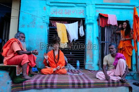 sadhus on the ghats varanasi uttar