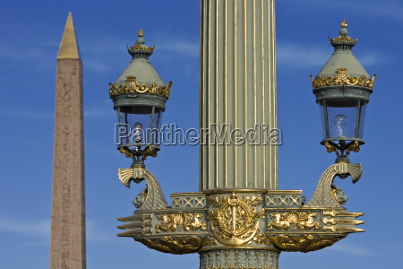 streetlight and obelisk of luxor in