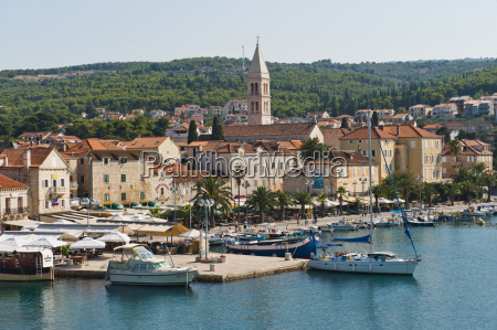 supetar harbour and the church of
