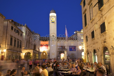 restaurants clock tower and stradun dubrovnik